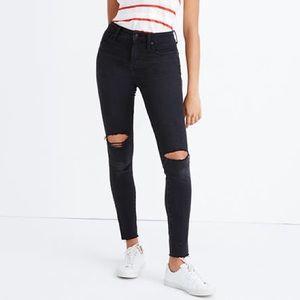 "Black Madewell Distressed 9"" Hi-Rise Skinny Jeans"